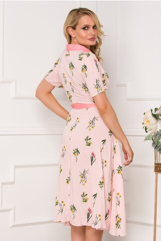 Rochie Feli roz cu imprimeu floral in nuante de galben