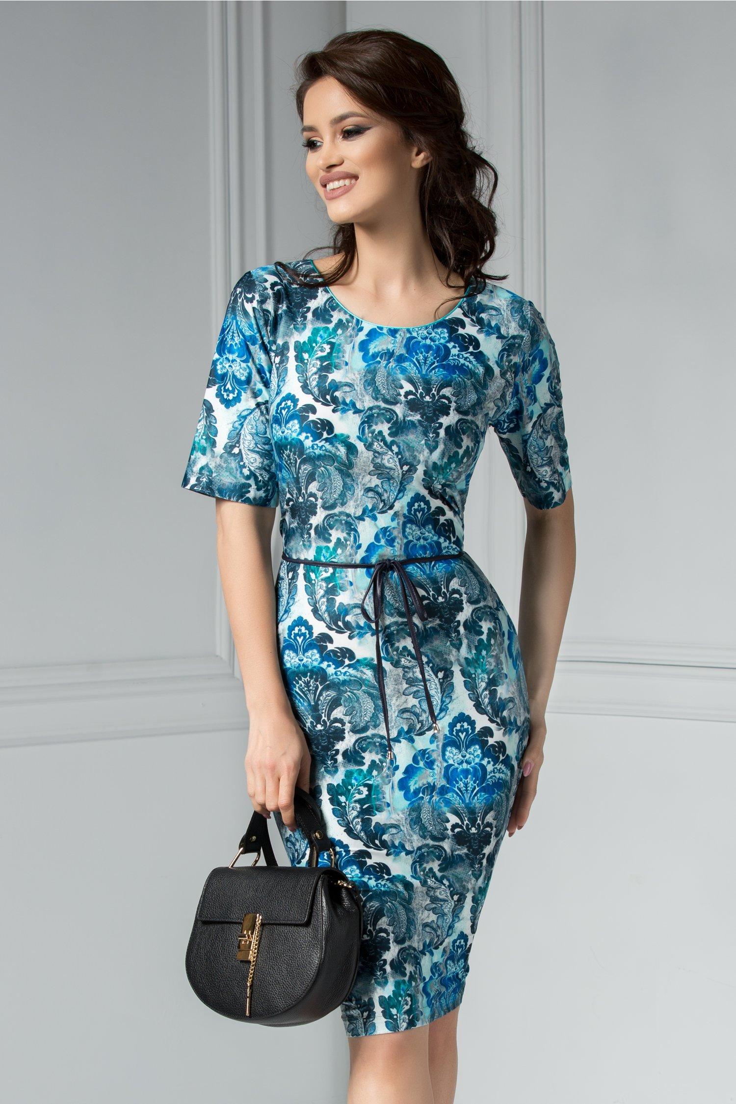 Rochie Felice cu imprimeu albastru