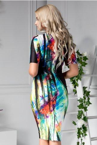Rochie Felice neagra cu imprimeu divers colorat