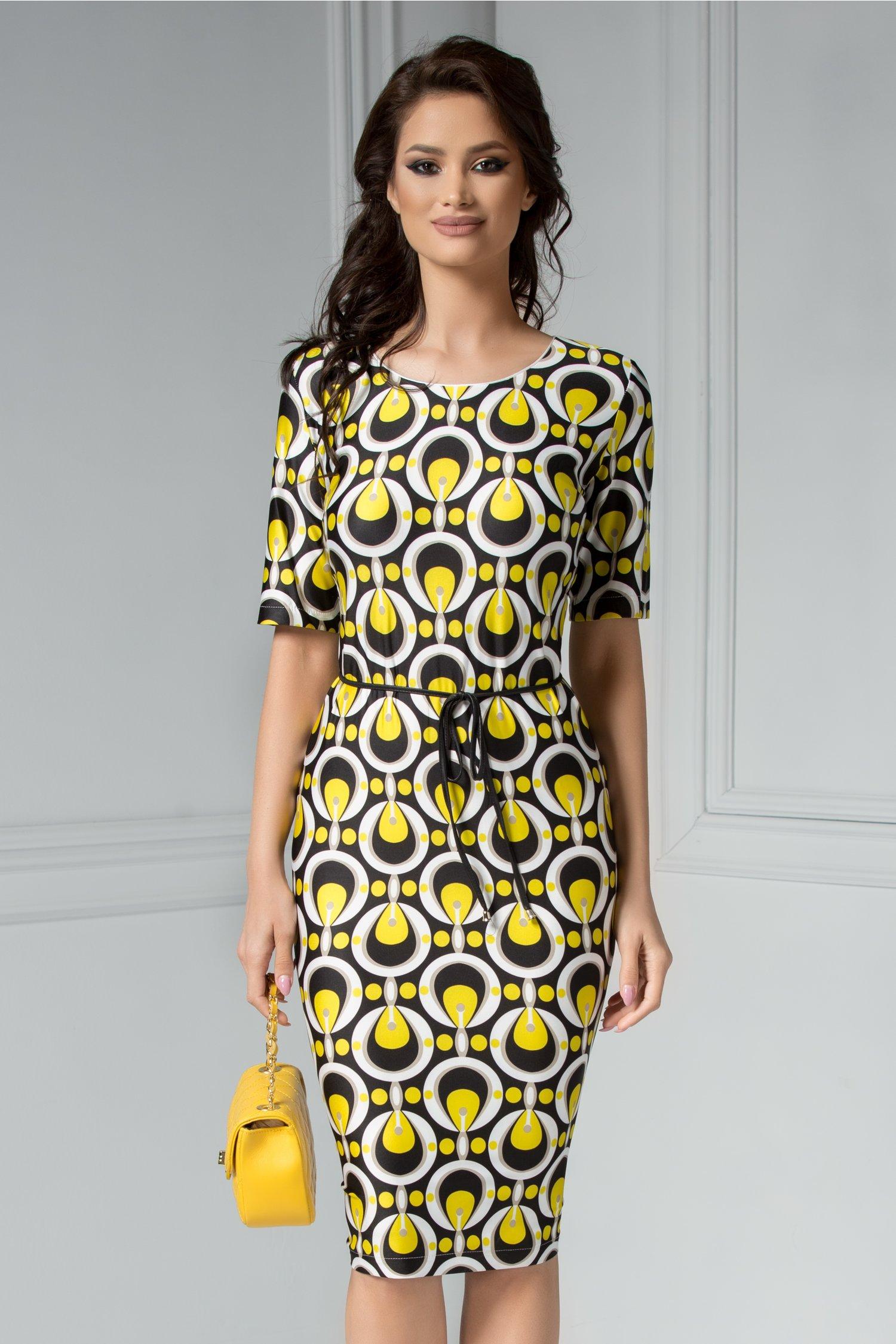Rochie Felice neagra cu imprimeu galben