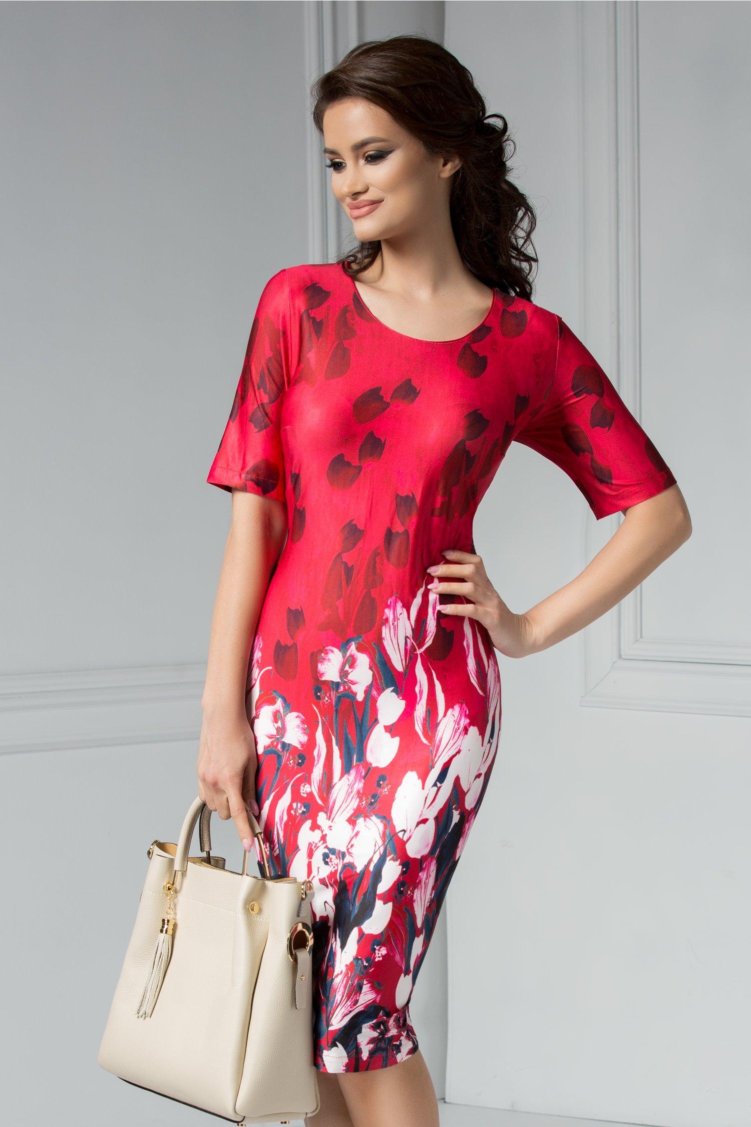 Rochie Felice rosie cu imprimeu floral