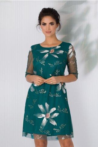 Rochie Felice turcoaz cu motive florale argintii