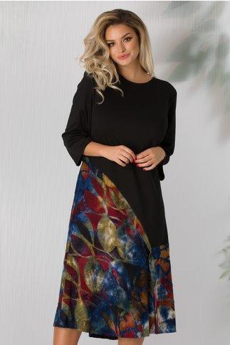 Rochie Felicia neagra cu imprimeu multicolor la baza