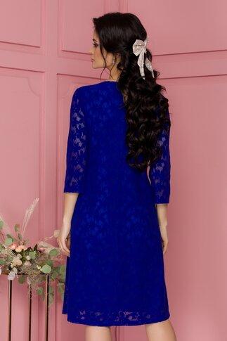 Rochie Fely albastra din dantela catifelata