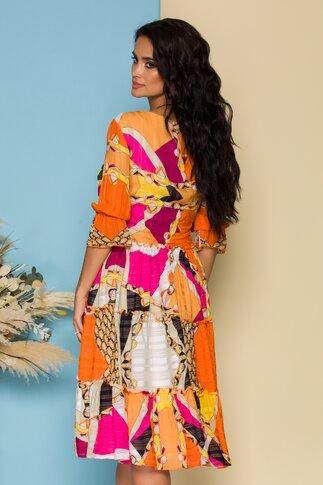 Rochie Fely cu imprimeuri multicolore si volane la baza