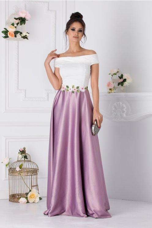 Rochie Fiona lunga cu alb si lila