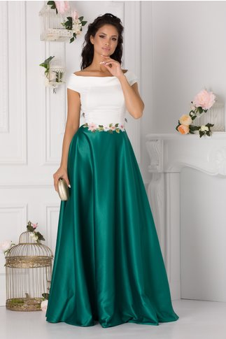 Rochie Fiona lunga cu alb si verde