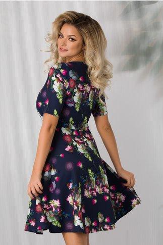 Rochie Fiora bleumarin cu imprimeu floral