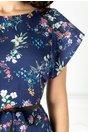 Rochie Flamina bleumarin cu imprimeu floral si curea in talie