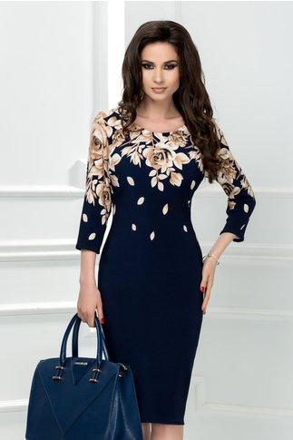 Rochie Flavia bleumarin cu trandafiri maro