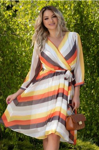 Rochie Flavia cu dungi multicolore