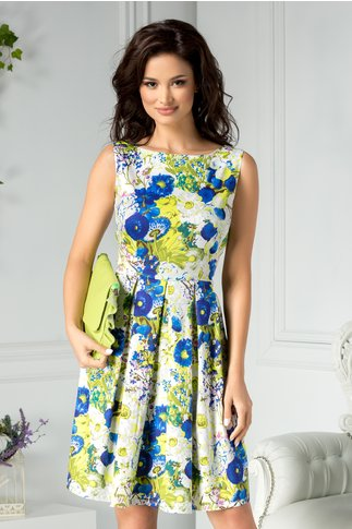 Rochie Flavia de zi inflorata verde albastru