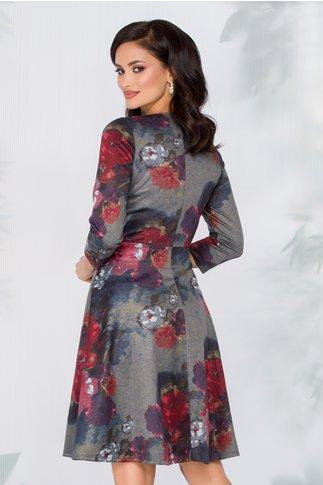 Rochie Flavia kaki cu imprimeu floral bordo