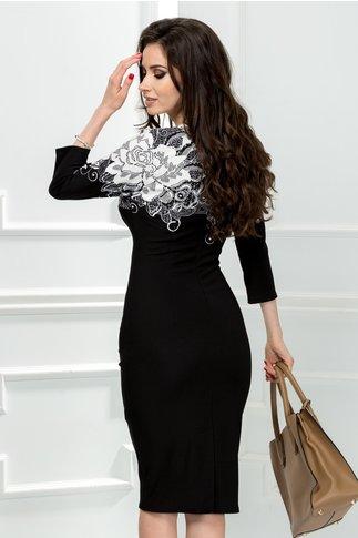 Rochie Flavia neagra cu imprimeu alb