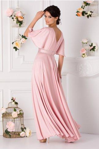 Rochie Flavia roz lunga cu maneci decupate