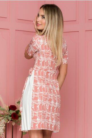 Rochie Flavia roz prafuit cu imprimeu abstract
