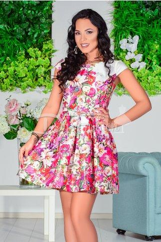 Rochie Floralia Cu Imprimeuri Roz