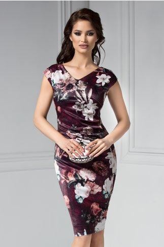 Rochie Flores din catifea cu imprimeu floral grena
