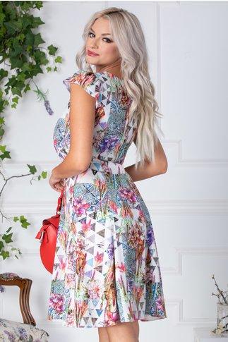 Rochie Floris de zi alba cu imprimeu divers