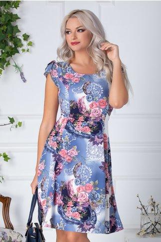 Rochie Floris de zi bleu si alb cu flori roz