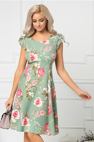Rochie Floris verde cu flori roz