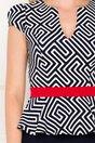 Rochie Fofy bleumarin cu imprimeu geometric si peplum in talie