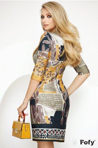 Rochie Fofy cu imprimeu frunze și elemente geometrice