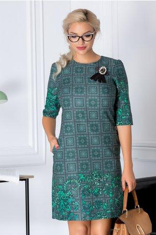 Rochie Fofy office cu imprimeu verde si brosa