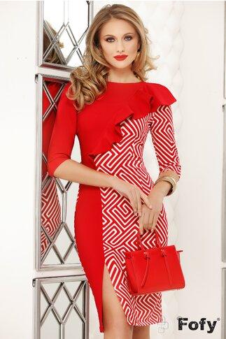 Rochie Fofy rosie cu imprimeuri geometrice si volan asimetric