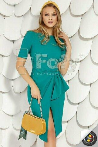 Rochie Fofy turcoaz cu volan stilizat