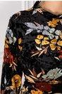 Rochie Francesca neagra din catifea cu imprimeu floral