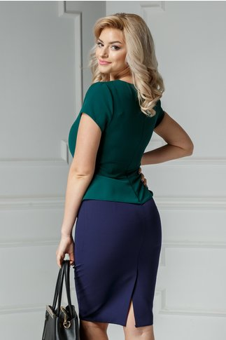 Rochie Freya midi bleumarin cu verde