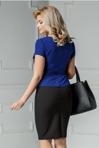 Rochie Freya midi negru cu albastru inchis