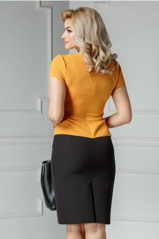 Rochie Freya midi negru cu galben