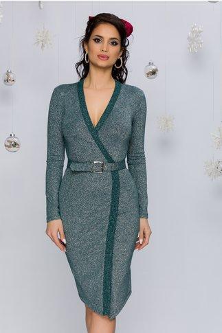 Rochie Fyla verde din jerse cu lurex si curea in talie