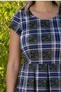 Rochie Gabriela albastra cu carouri