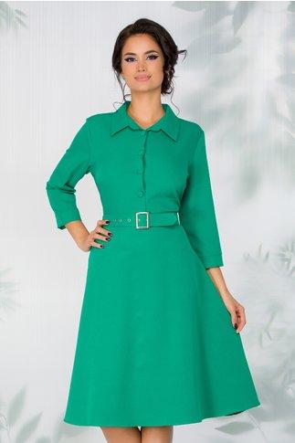 Rochie Gabriela verde cu nasturi la bust si cordon in talie
