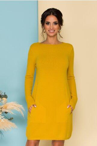 Rochie galben mustar din tricot cu buzunare functionale
