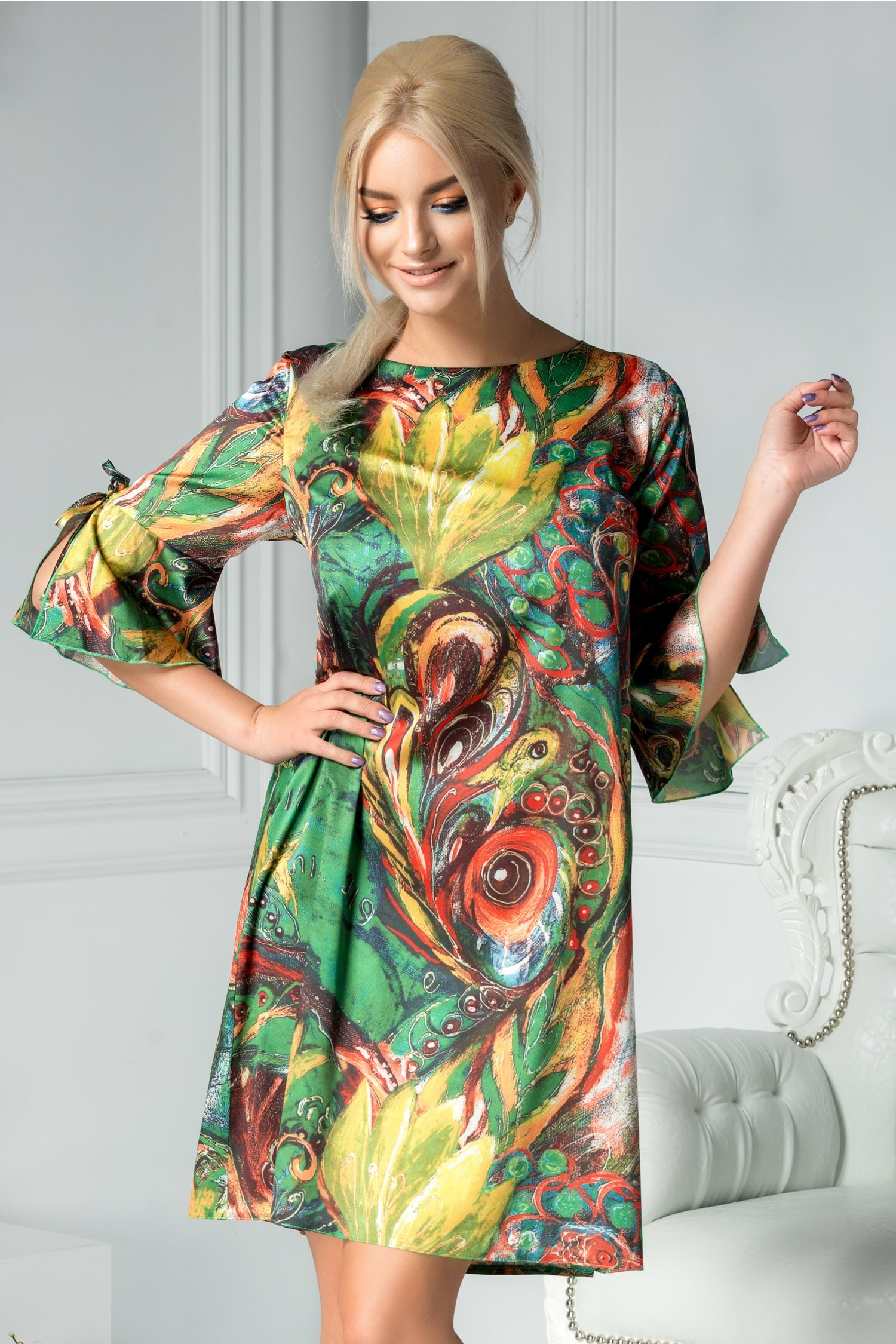 Rochie Galia verde cu imprimeu divers