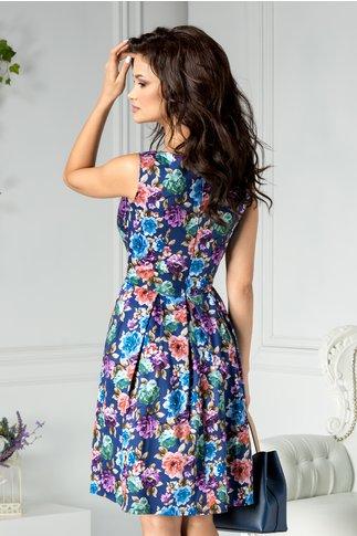Rochie Galina clos de zi bleumarin cu flori