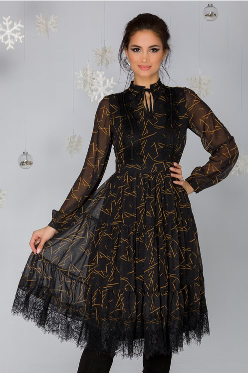 Rochie Gaya neagra cu imprimeu abstract galben mustar si insertii din dantela Chantilly neagra