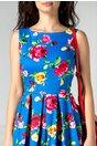 Rochie Geanina clos albastra cu trandafiri fucsia