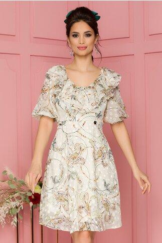 Rochie Georgy ivoire cu motive florale si volanase la bust