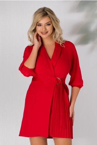 Rochie Gherda rosie cu aspect petrecut