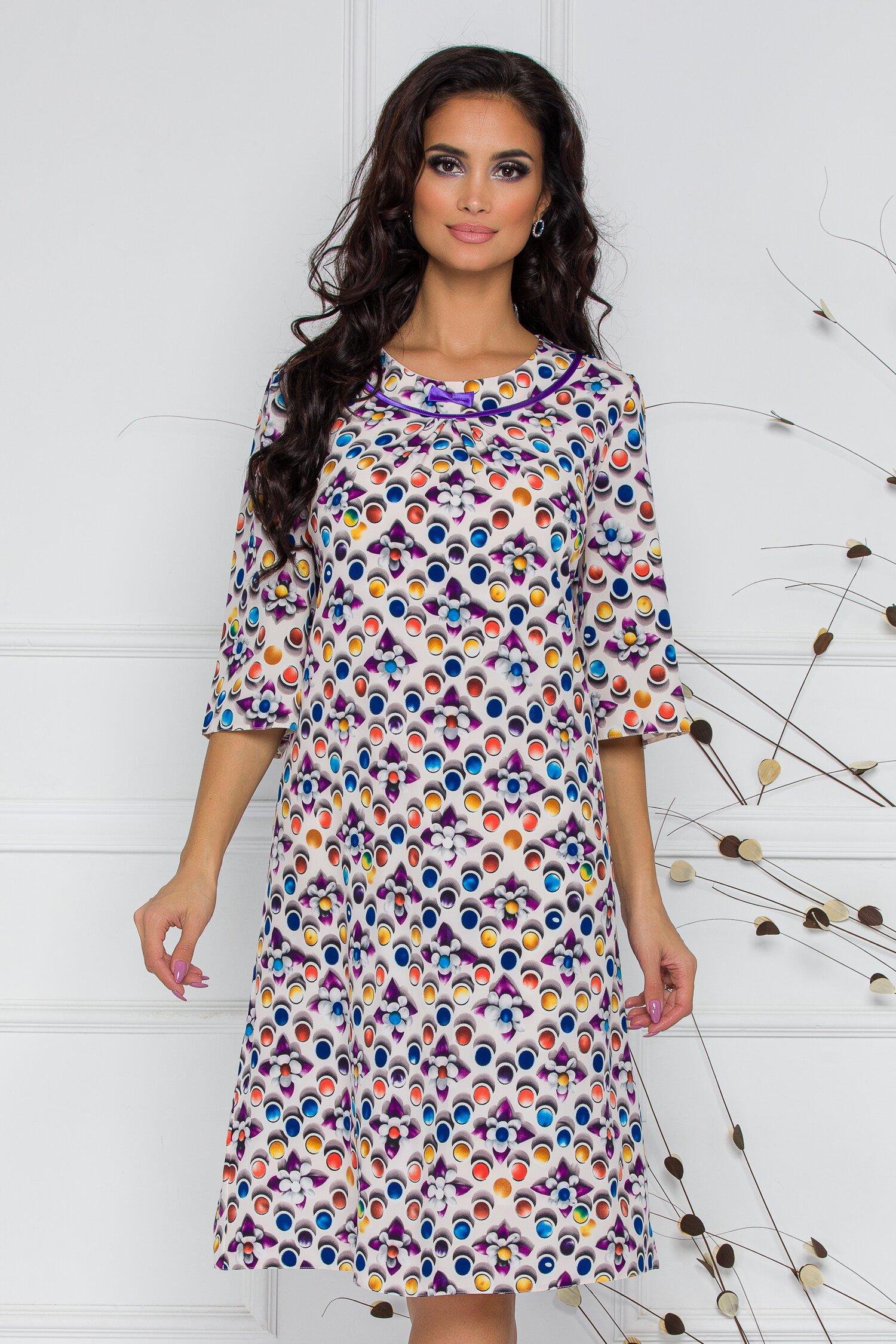 Rochie Gia alba cu buline si imprimeu floral imagine