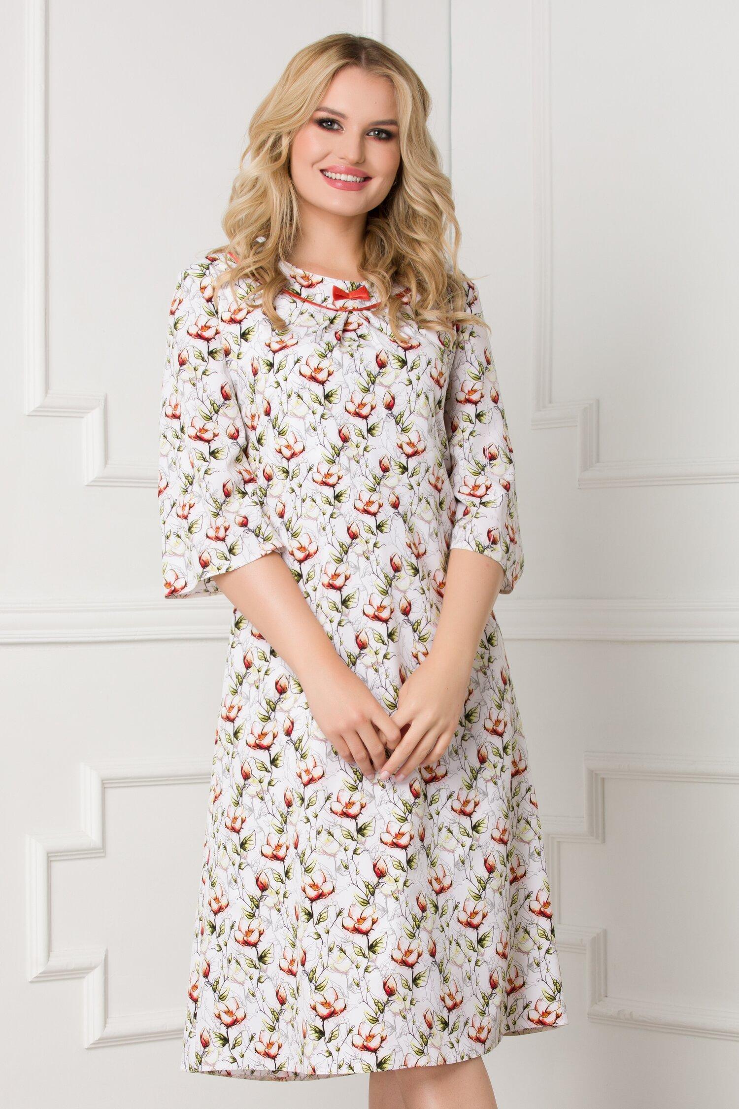 Rochie Gia alba cu imprimeu floral
