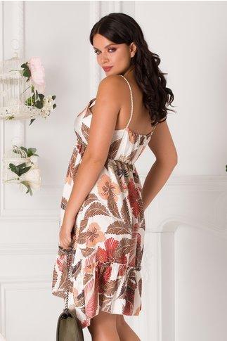 Rochie Gianina alba cu imprimeu exotic