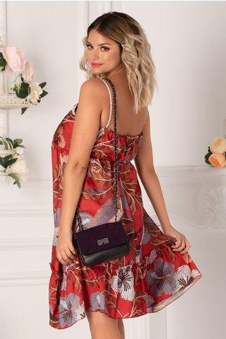 Rochie Gianina bordo cu imprimeuri florale punctate