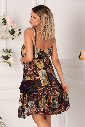 Rochie Gianina maro cu imprimeuri florale punctate