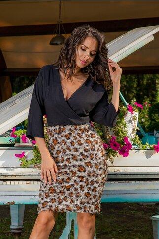 Rochie Gilda neagra cu imprimeu pufos leopard
